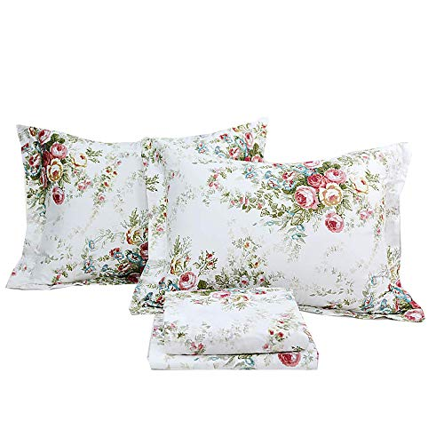 ABREEZE Vintage Rose Floral Bed Sheet Set Cotton Bed Sheet Queen 4PCS,Flroal Fitted Sheet