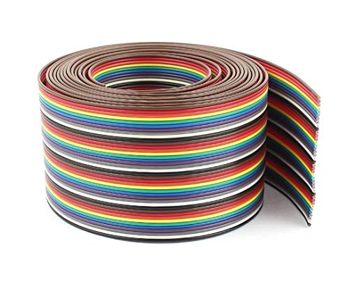 Pc Accessories - Connectors Pro IDC 40P 10 Feet 1.27mm Pitch Rainbow Color Flat Ribbon Cable for 2.54mm Connectors (40P-10FT)
