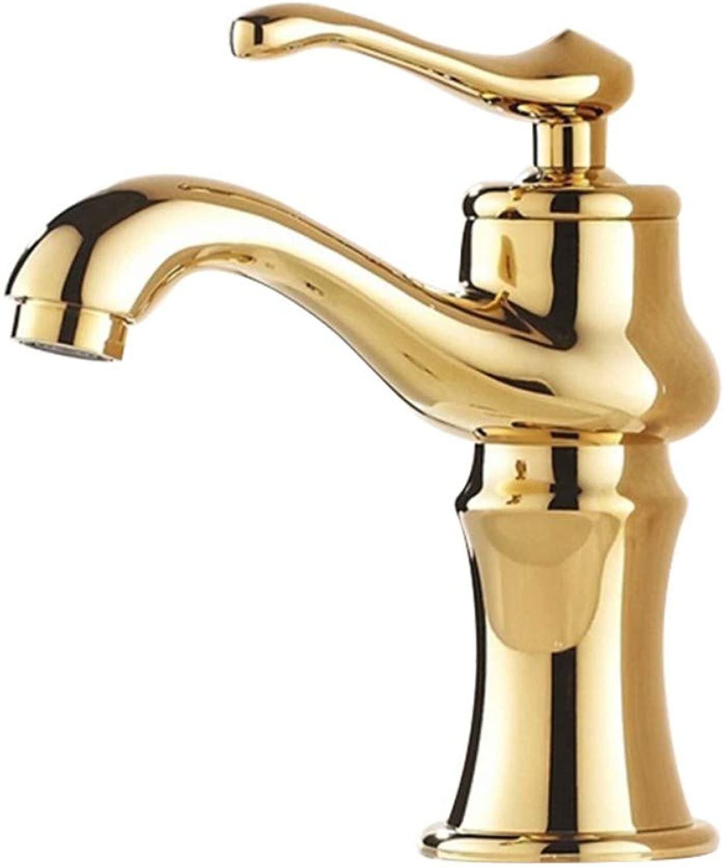 golden Faucet Basin Mixer Copper Hot and Cold Faucet