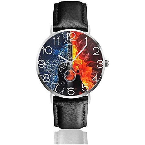 Armbanduhr Wasser und Feuer Gitarre Classic Casual Quarzuhr Business-Uhren