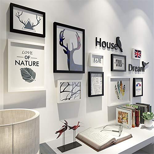 Conjunto de marco de fotos de pared Decoración nórdico minimalista sala de estar Photo Corredor pared del pórtico de fotos marco de colgar de la pared marco combinación sofá Foto fondo de la pared par