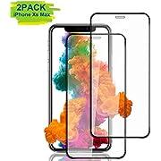 Aonsen Phone Xs Max Panzerglas Schutzfolie [2 Stück],Kompatibel mit Phone Xs Max [Blasenfreie] [Panzerglas Folie] HD Displayschutzfolie Folie - Noir