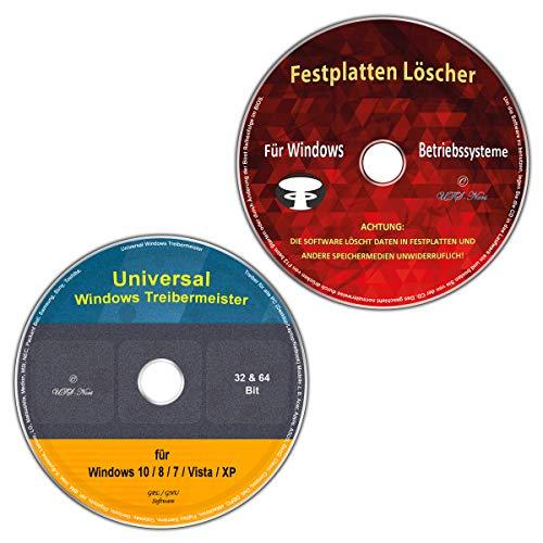 Universal Treiber-Meister für Windows 10 / 8 / 7 / Vista / XP (32 & 64 Bit) alle (PC & Laptop) Modelle + Festplatten Löscher & Formatiere, Datenvernichter, Sichere Datenlöschung (2 CD/DVD-Spar-Set)
