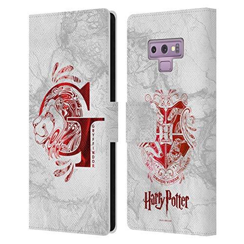 Head Case Designs Offizielle Harry Potter Gryffindor Aguamenti Deathly Hallows IX Leder Brieftaschen Handyhulle Hulle Huelle kompatibel mit Samsung Galaxy Note9 Note 9