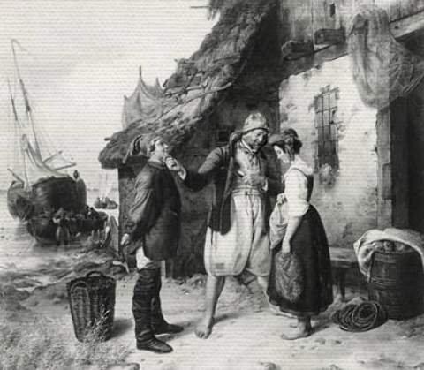 """Leinwandbild auf Keilrahmen: Rudolf Jordan, \""""Heiratsantrag auf Helgoland\"""", 86 x 75"""