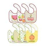 Babador Mix de Frutas Felpudo e Plastificado, Papi Textil, Verde, Único, pacote de 7