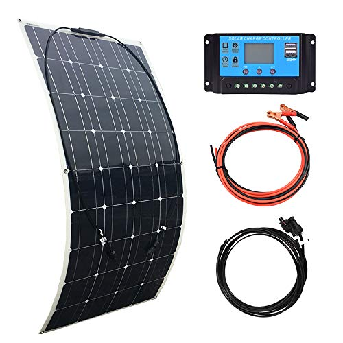 XINPUGUANG 100W Flexible Solar Panel 12V System kit 10A Charge Controller Cables with Alligator Clip PV Connector Cables for Yacht, Boat, RV, Cabin, 12v Battery Charge