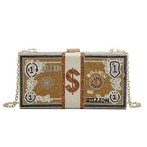 Cgration Monedero de embrague para mujer, pila de dólares en efectivo monederos de cristal de embrague, para mujer, bolsas de noche con diamantes de imitación, bolsa de cena de boda