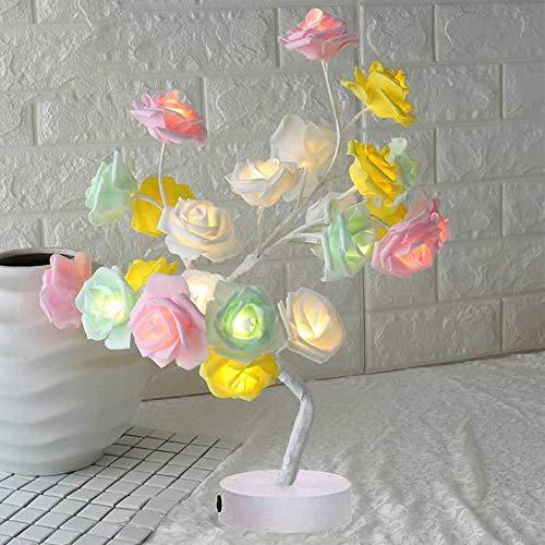 Lámpara de mesa con diseño de flores de rosa, ramas ajustables, luces LED de escritorio, funciona con pilas, luces de noche para día de San Valentín, fiesta, boda, dormitorio, 7 colores