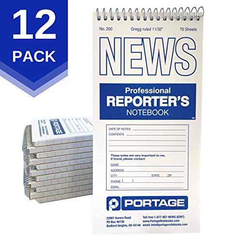 "Portage Reporter's Notebook – #200 Gregg Ruled 4"" x 8"" Professional Spiral Notebook for Taking Notes in the Field - 140 Pages (12 Pack)"