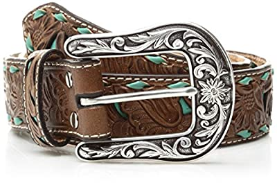 Nocona Belt Co. Women's Turquoise Inlay Buck Belt, brown, Extra Large