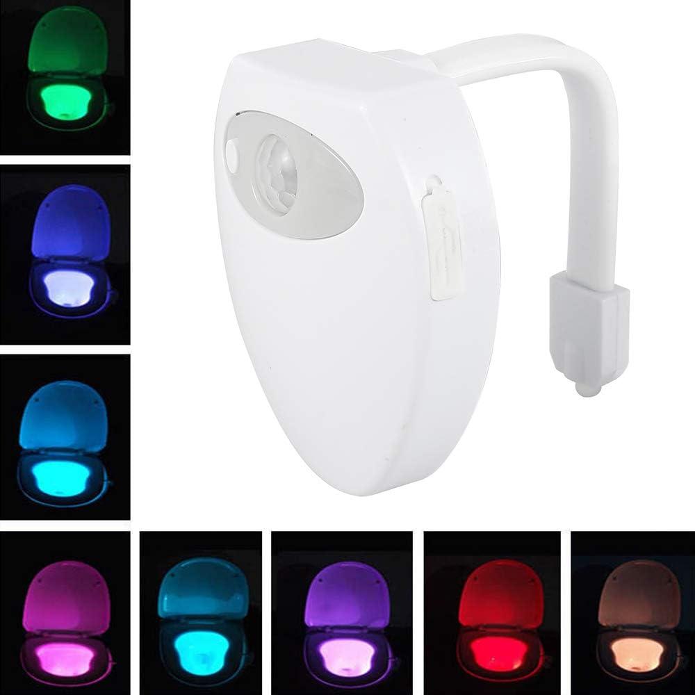 WC Luz Nocturna LED Luces WC USB Recargables con Sensor de Movimiento Automático Impermeable 8 Colorespara Inodoro/Baño/Niños/Mayores