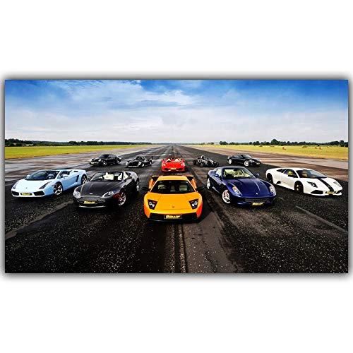 Frameloze klassieke sportwagen poster zijden doek stof print home decor kunst poster <> 60x90cm