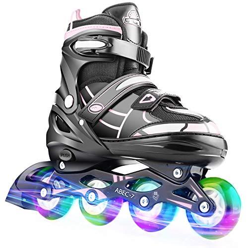 Hikole Vestellbare Inliner Größe 34-37 Inline Skates Kinder mit beleuchteten Rädern Rollschuhe für Jungen Mädchen Anfänger Damen Herren