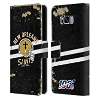 Head Case Designs Officially Licensed by NFL Helmet Distressed Look 100th 2019/20 New Orleans Saints Leather Book Wallet Case Cover Compatible with Samsung Galaxy S8+ / S8 Plus