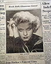 JEAN HARLOW The Blonde Bombshell Hollywood Actress DEATH 1937 Original Newspaper FITCHBURG SENTINEL, Massachusetts, June 8, 1937