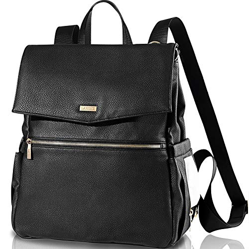 Landici Leather Diaper Bag Backpack for Mom&Lady,Waterproof Multifunction Women Travel Back Pack Maternity Baby Boy Girl Nappy Changing Bag with Laptop Ipad Compartment,Stroller Strap,Black