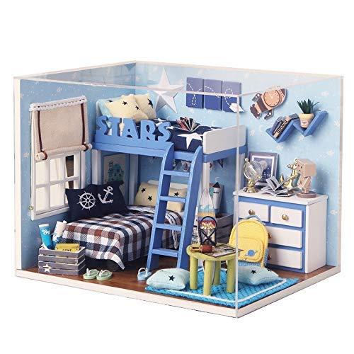 ZSM Puppenhaus Mini Puppenhaus Haus für Kinder Spielzeug Holzmöbel DIY Puppenhäuser Miniatur Holz Spielzeug für Geburtstagsgeschenk YMIK