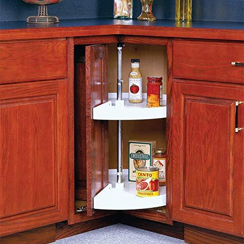 Knape & Vogt 33 in. H W x 28 in. D 2-Shelf Pie Cut Door Mount Lazy Susan Cabinet Organizer, White
