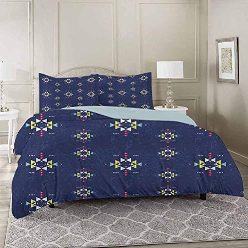YUAZHOQI Primitive Washed Duvet Cover Set with Zipper Closure Twin, Geometric Ornament with Style and Grunge Backdrop Triangles and Arrows Ultra Soft Hypoallergenic Comforter Cover Sets