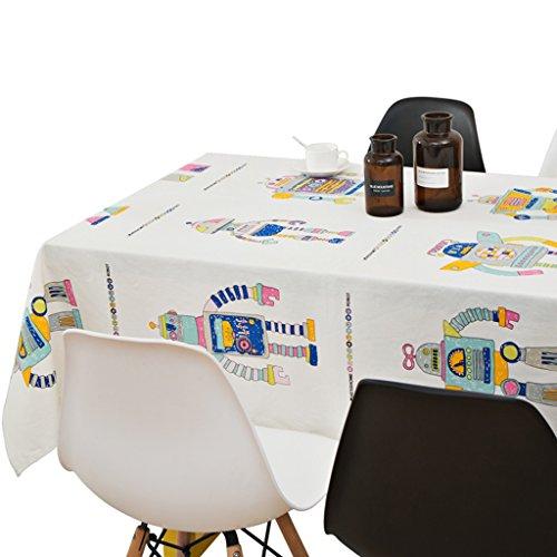 Set Robots de Bande Dessinée Coton et Lin Serviettes de table blancs rectangulaires Serviette de nappe de café Impression HD et décoloration 142*300cm (56*118inch)