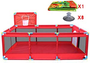 Playpens Large Indoor Outdoor Baby With Basketball Hoop And Mat Safety Boys Girls Play Center Yard Portable Folded Toddlers Home Activity Area Fence Panel Red