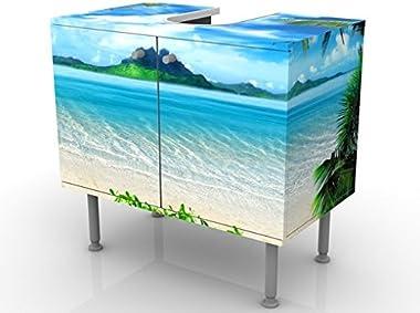 Meuble sous Vasque Design Dream of Holidays 60x55x35cm, Petit, 60 cm de Large, réglable, Table de lavabo, Armoire de lavabo,
