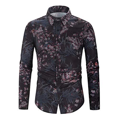 Camisas de Manga Larga con Estampado Retro de Solapa de Muesca para Hombre Moda Streetwear Camisas de Ajuste Regular con Botones de Todo fósforo XXL