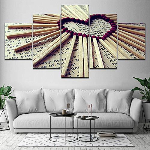 SMXSSJT 5 Aufeinanderfolgende Gemälde Liebestreffer Hd Home Decor Canvas Pictures Living Room Modern 5 Panel Painting Wall Art Modular Poster Printed.30X60Cm*2/30X70Cm*2/30X80Cm*1(Ohne Rahmen