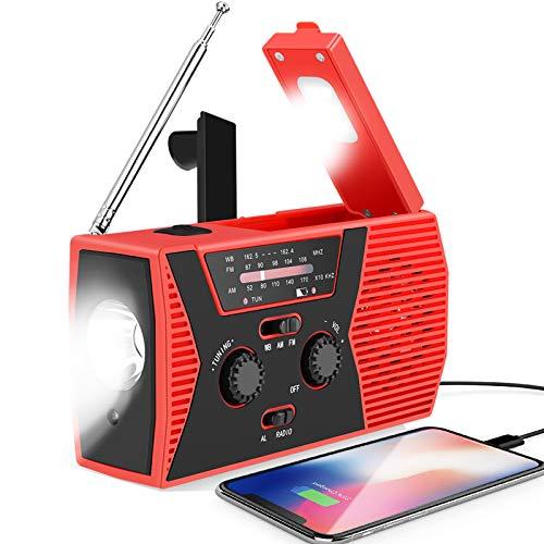 Radio de manivela solar de emergencia, portátil AM/FM NOAA radio meteorológica para exteriores y dispositivos de emergencia, cargador USB de 2000 mAh con linterna LED, lámpara de lectura, alarma SOS, Rojo (Christmas Red)