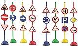 Italveneta Didattica 036 - Set 24 Segnali Stradali con Base D'Appoggio, in Plastica