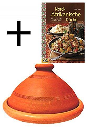 Tajine, origineel uit Marokko, inclusief kookboek Nord Afrikaanse keuken, kleipan om te koken, Tuareg, handgemaakt van marrakesch, vrij van schadelijke stoffen