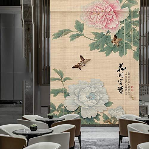 Voilages Cortina de bambú de la pantalla de partición del hogar, cortina de la persiana del rodillo de la cortina de la sombrilla de la impresión, cortina a prueba de mal tiempo de la elevación del ro