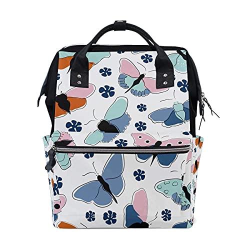 Mariposa pañal bolsa multifunción bolsas de pañales para el cuidado del bebé impermeable amplia mochila de viaje abierta para la organización