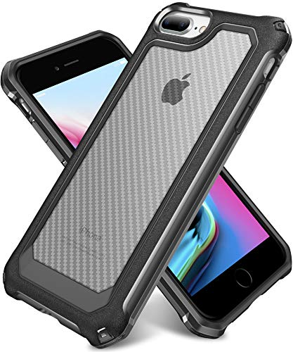 iPhone 8 Plus Case, iPhone 7 Plus Case, SUPBEC Slim Carbon Fiber Shockproof Protective Cover with Screen Protector [x2] [Military Grade Drop Protection] [Anti Scratch&Fingerprint], 5.5', Black