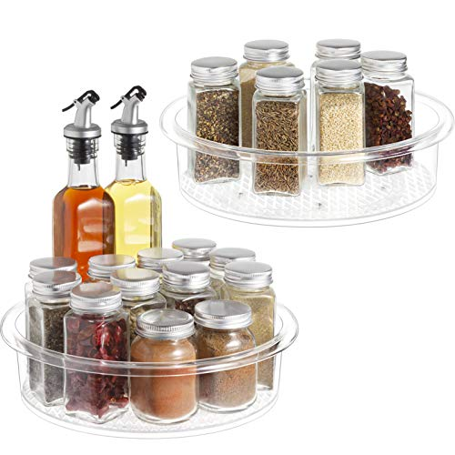 Lazy Susan - 2 Pack Clear Spinning Organization Storage Container Bin 9 inch Round Turntable Plastic Condiments Spice Rack for Cabinet Pantry Kitchen Fridge Vanity Bathroom Countertop Makeup