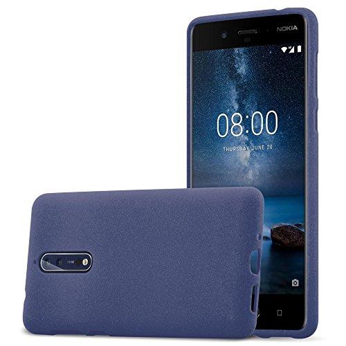 Cadorabo Custodia per Nokia 8 2017 in Frost Blu Scuro - Morbida Cover Protettiva Sottile di Silicone TPU con Bordo Protezione - Ultra Slim Case Antiurto Gel Back Bumper Guscio