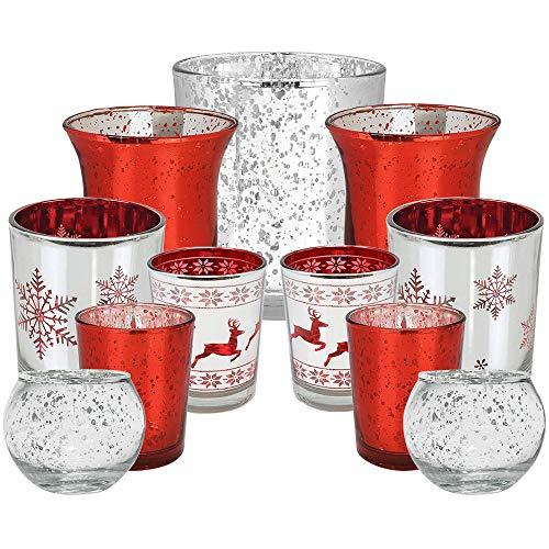 Just Artifacts 11pc Assorted Size Christmas Metallic Mercury Glass Votive Candle Holders (Color: Be Jolly)