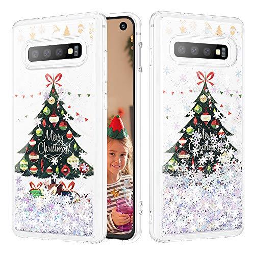 Caka Christmas Case for Galaxy S10 Glitter Case Bling Shinning Liquid Silver Snowflake Liquid Luxury Fashion Quicksand Floating Soft TPU Girls Women Phone Case for Samsung Galaxy S10 (Tree)