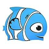 HeySplash Bonnet de Bain Natation pour Enfants,Capuchon de Bain Imperméable en Silicone Elastique Supérieur avec Style de Poisson pour Enfants Garçons et Filles, Bleu