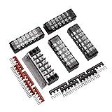 Qishare 15 Stücke Zweireihig 6 Position Schraubbarriere Terminal Block 600 V 15A + 400 V 15A 6 Positionen Pre Isolierte Terminal Barrier Strip Rot/Schwarz 10 Stücke (15A 6 P)