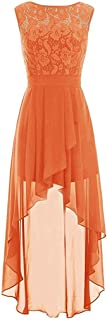 CladiyaDress Women Jewel Neck Sleeveless Hi-Lo Length Bridesmaid Dress Evening Gown D085LF