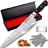MOSFiATA 10' Chef's Knife with Finger Guard and Safe Cut Resistant Gloves in Gift Box, German High Carbon Stainless Steel EN.4116 Professional Kitchen Cooking Knife