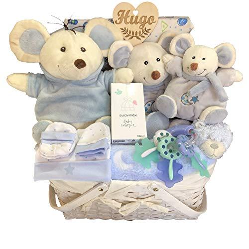 Canastilla bebé recién nacido niño, con corazón personalizado, pañales, tres ratoncitos de felpa, mantita suave, set gorro, manoplas y patucos, bandana, mordedor llavero y colonia Suavinex.