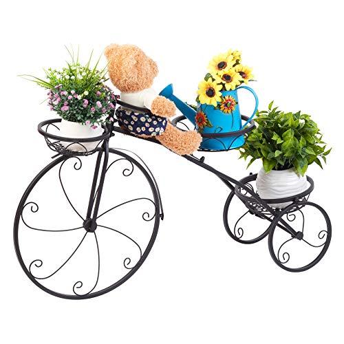Unho Scaffale per piante da esterno, bicicletta portavaso porta piante da esterno in ferro supporto...