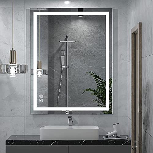 LED Bathroom Mirror with Lights, Backlit LED Mirror for Bathroom 36x28, Dimmable Lighted Mirror for Bathroom Wall, Anti-Fog Light up Mirrors for Bathroom Vanity Makeup (Horizontal/Vertical)