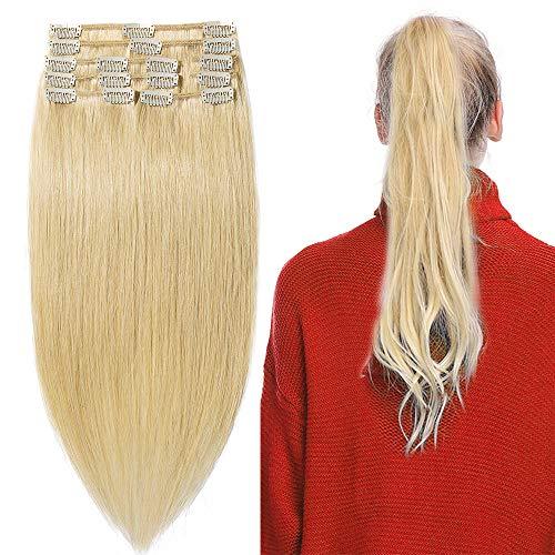 20-60cm Extension Capelli Veri Clip Remy Human Hair Lisci Corti Parrucca Vera (20cm-65g #24 Biondo Naturale)