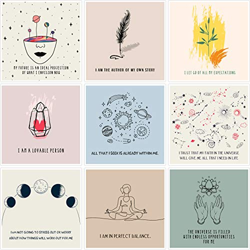50 Pieces Affirmation Meditation Cards for Women, Positive Motivational Note Cards for Self Care, Help Yourself and Stress Relief, Inspiring Encouragement Cards (Bright Color Series)