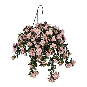Silk Flower Arrangements House of Silk Flowers Artificial Azalea Hanging Basket, Pink