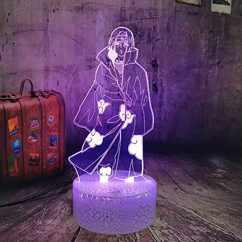 Lámpara de ilusión 3D LED de luz nocturna Uchiha Itachi, figura con sensor de tarificación USB para habitación de los niños, decoración genial para los fans de Naruto, lámpara de noche